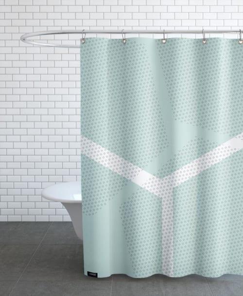 rideau de douche en polyester en blanc vert 150x200 maisons du monde