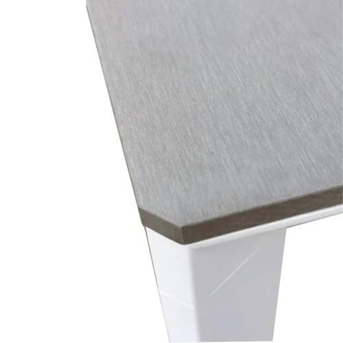 salon de jardin 8 places en aluminium blanc et bois composite gris maisons du monde