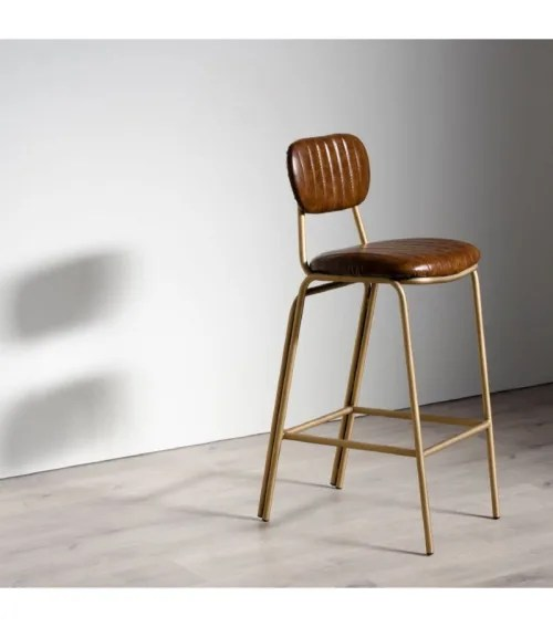 tabouret de bar metal dore et assise marron maisons du monde