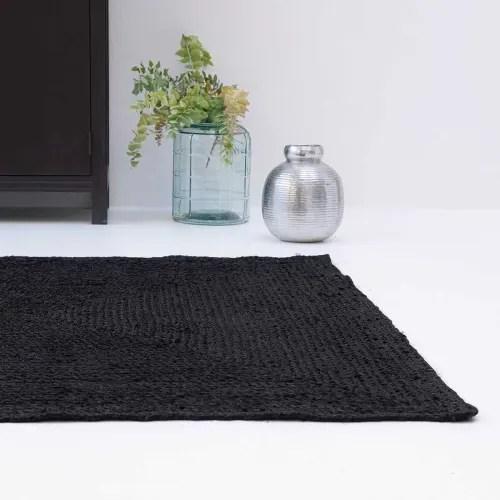 tapis jute naturel rectangulaire noir 140 x 200 maisons du monde