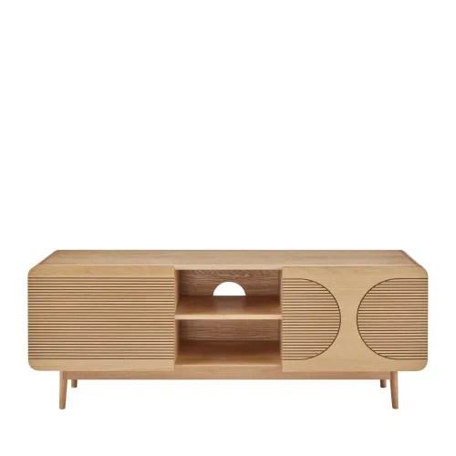 meuble tv design 2 portes en bois chene maisons du monde