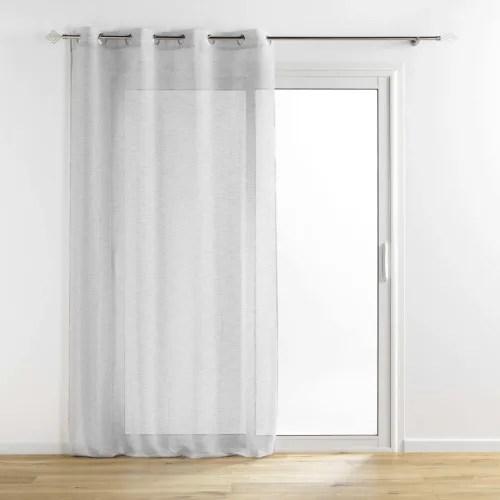 voilage tisse fils metallises polyester gris argent 240x140 maisons du monde