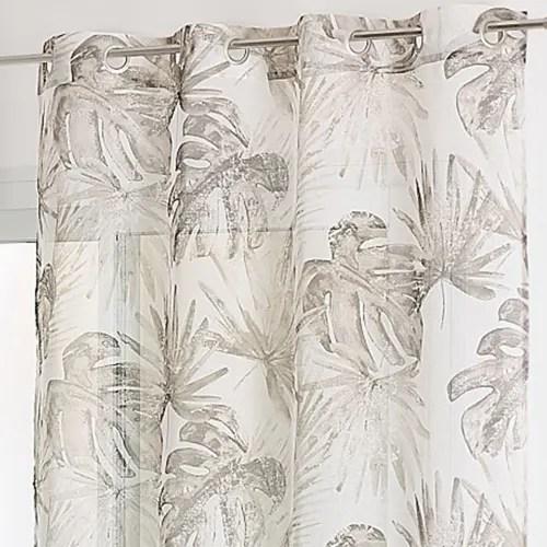 voilage en etamine imprime tropical polyester taupe 240x140 maisons du monde