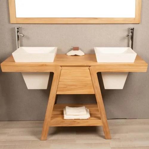 meuble salle de bain en teck et 2 vasques creme l140cm maisons du monde