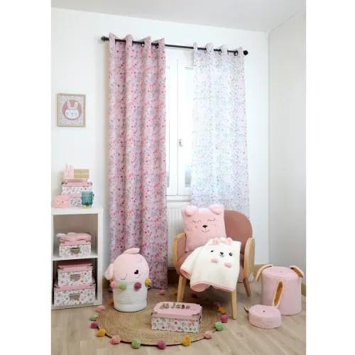 rideau occultant imprime pimprenelle polyester rose 260x135 maisons du monde
