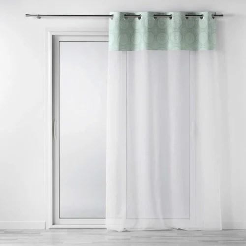 voilage a œillets avec top imprime sibel polyester menthe 240x140 maisons du monde