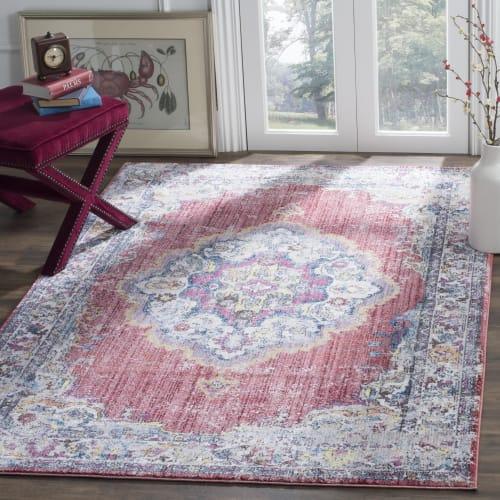 tapis de salon d inspiration vintage fuchsia et gris clair 160x230 maisons du monde