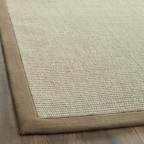 tapis de salon fibres naturelles taupe et marron clair 182x274 maisons du monde