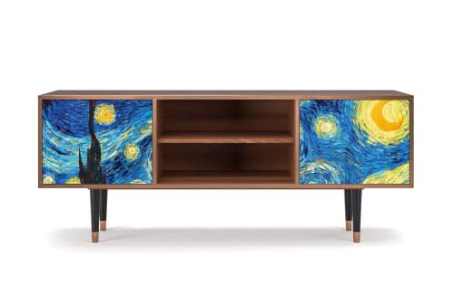 meuble tv bleu 170cm 2 portes maisons du monde
