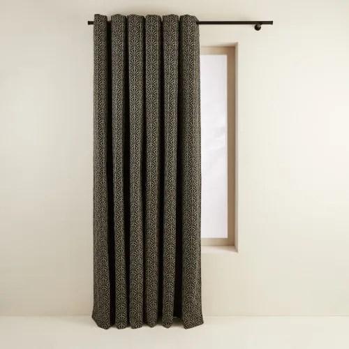 rideau a oeillets noirs double 137x350 cm noir et argent maisons du monde