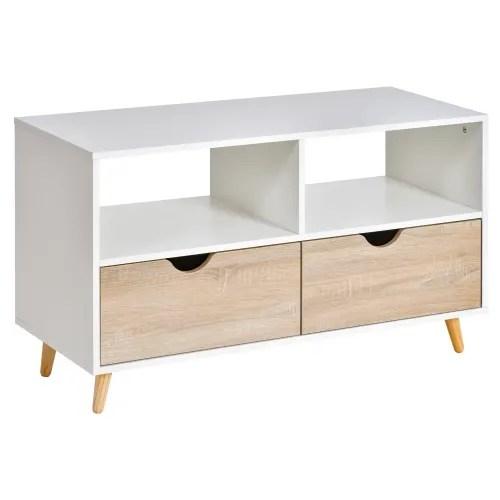 meuble tv bas sur pieds style scandinave 2 tiroirs chene clair blanc maisons du monde