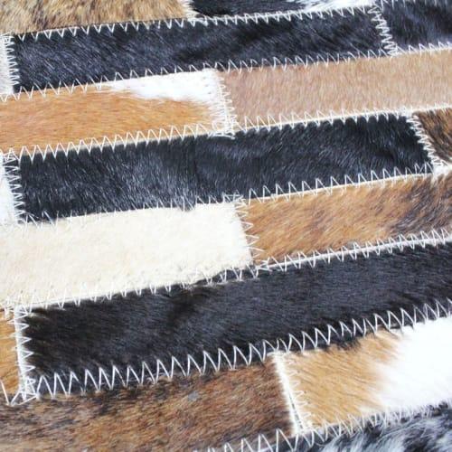 tapis en cuir lignes marron multi 160x230 maisons du monde