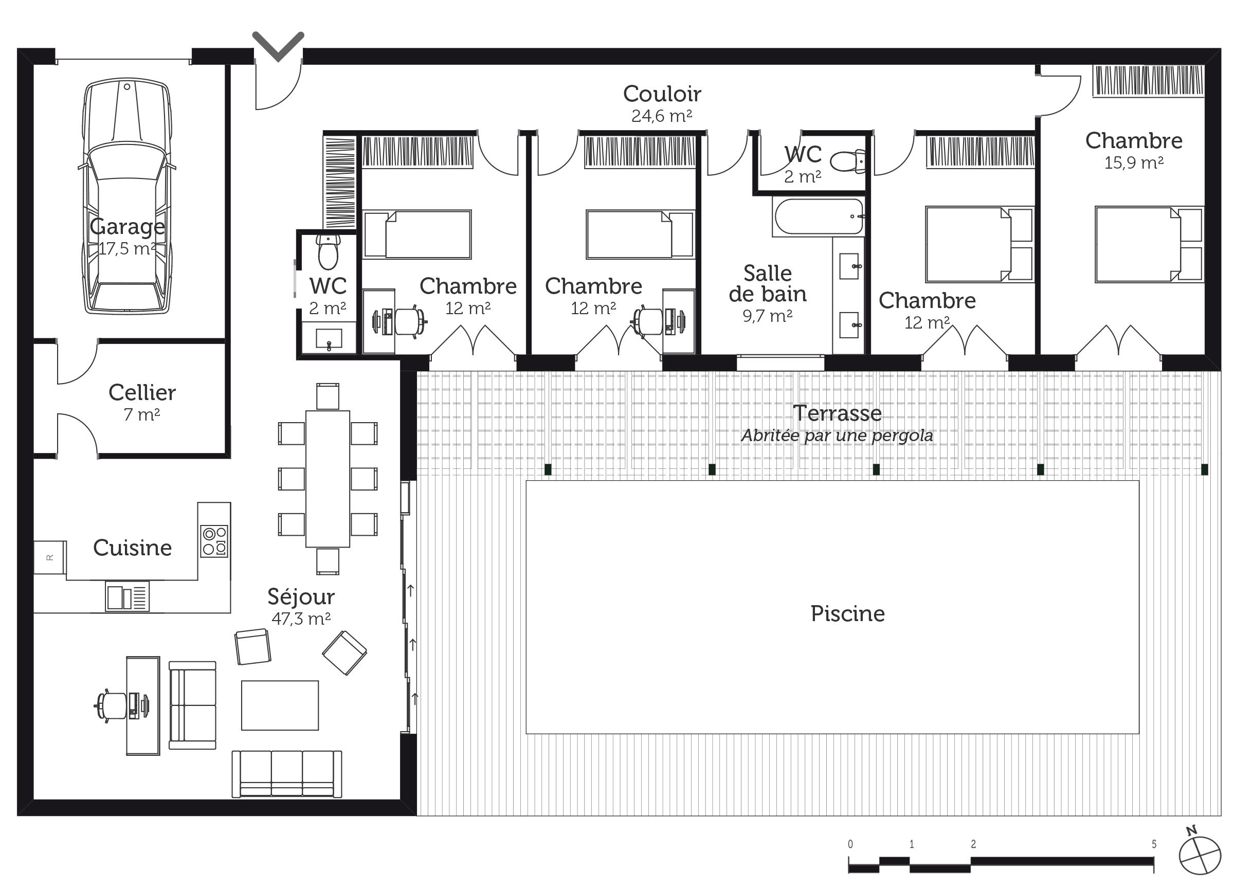Plan maison avec 4 chambres et garage  Ooreka