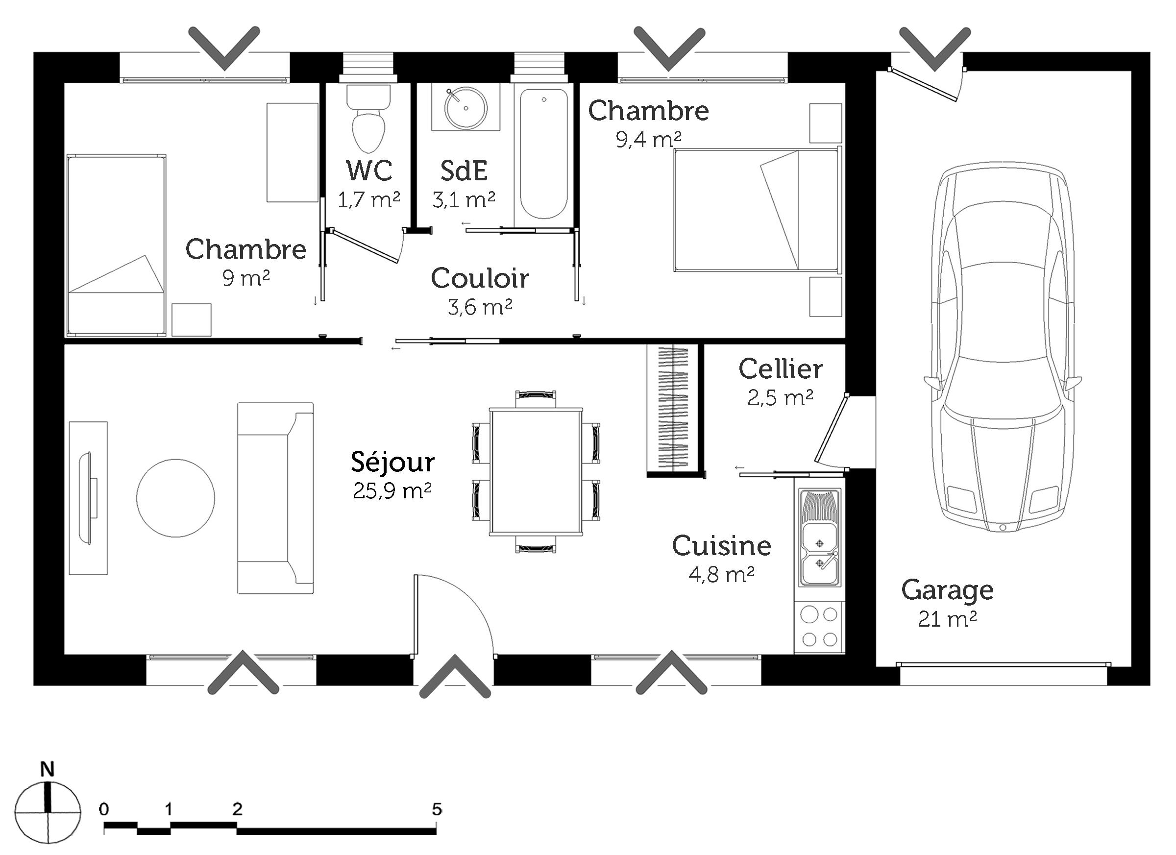 plan maison 60 m rectangulaire ooreka