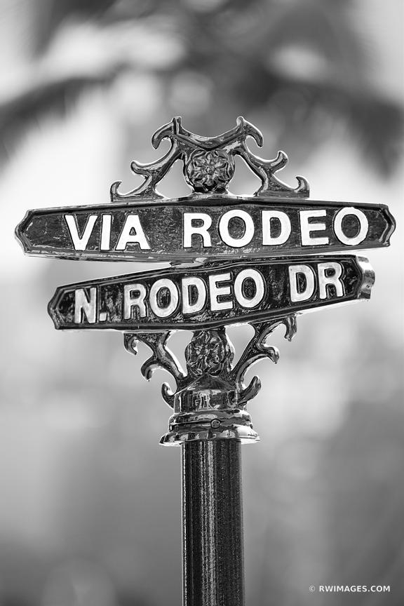 Photo Print of VIA RODEO DRIVE SIGN BEVERLY HILLS CALIFORNIA BLACK AND WHITE VERTICAL Print