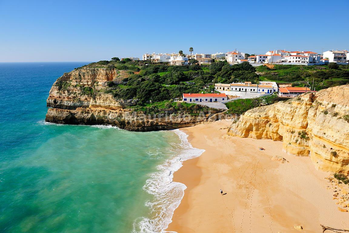 Benagil town, beach and cave, Algarve