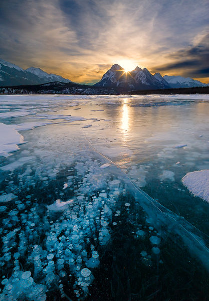 Sunrise on the Abraham Lake