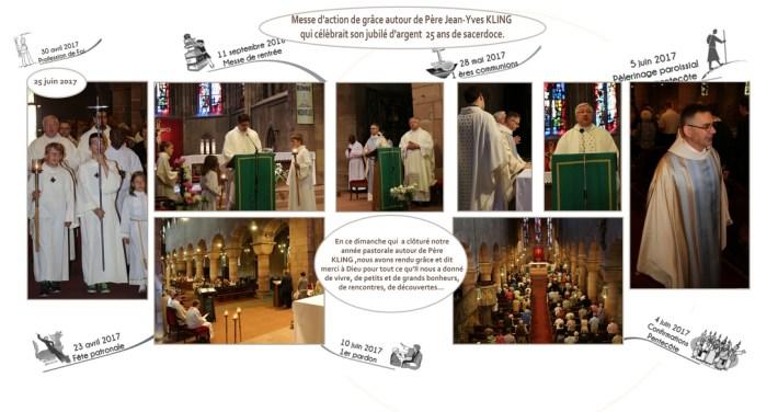Entrée des servants d'autel, lecture de l'évangile par l'abbé Pierre-Hubert, le père Kling et père Stanisals , vue de l'assemblée