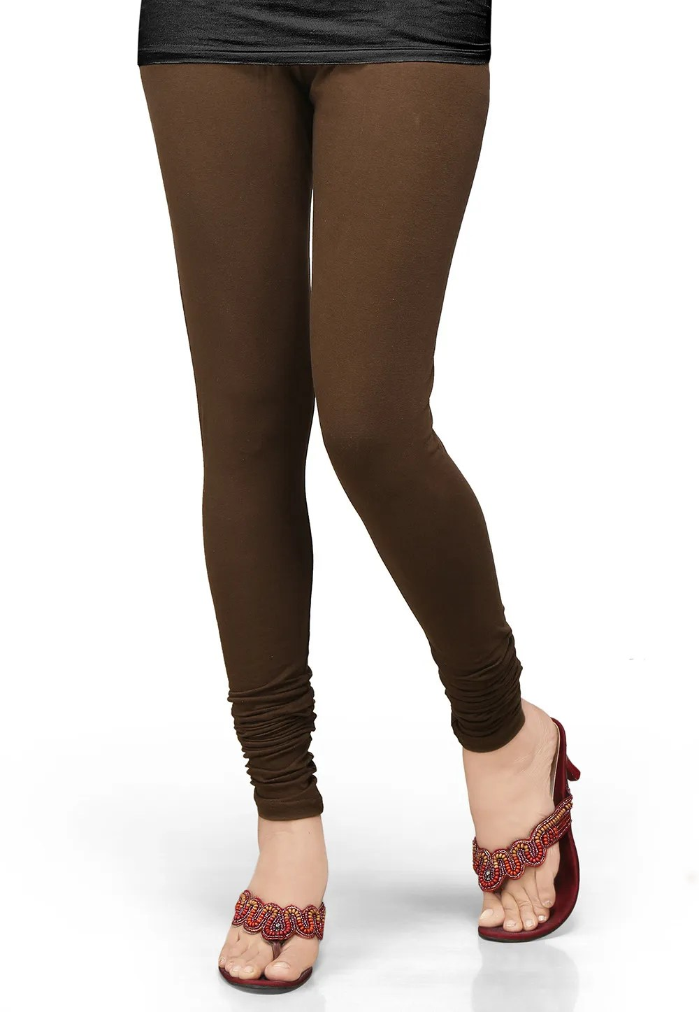 Cotton Lycra Leggings In Dark Brown  BCF40