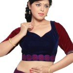 Embroidered Velvet Blouse In Maroon And Navy Blue Dbu221