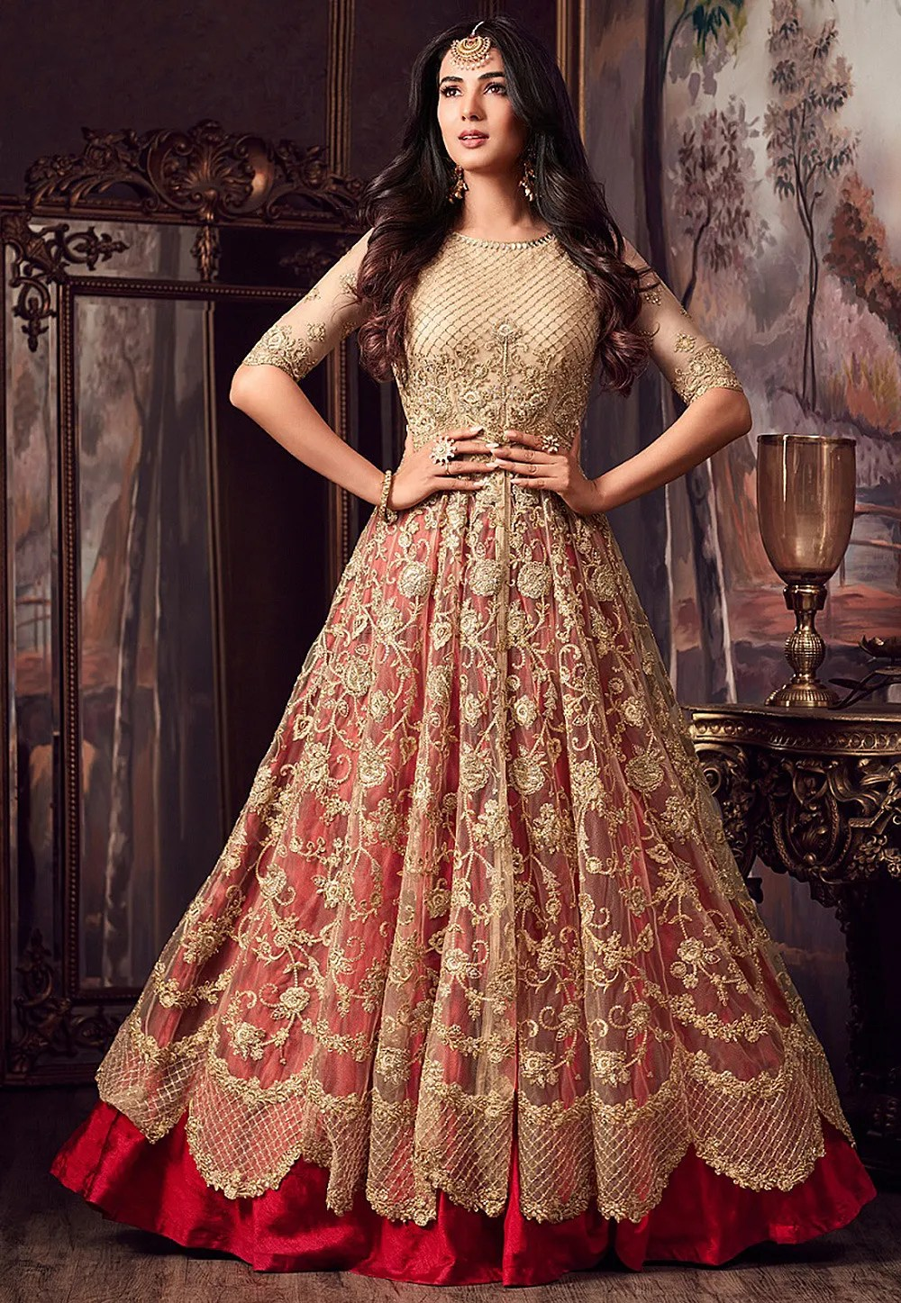 Embroidered Net Lehenga In Beige And Red LCC235