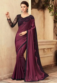 Embroidered Satin Saree in Wine : SFVA632
