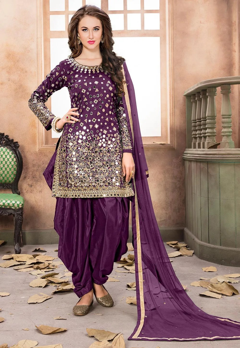 Embroidered Taffeta Silk Punjabi Suit in Violet  KCH975