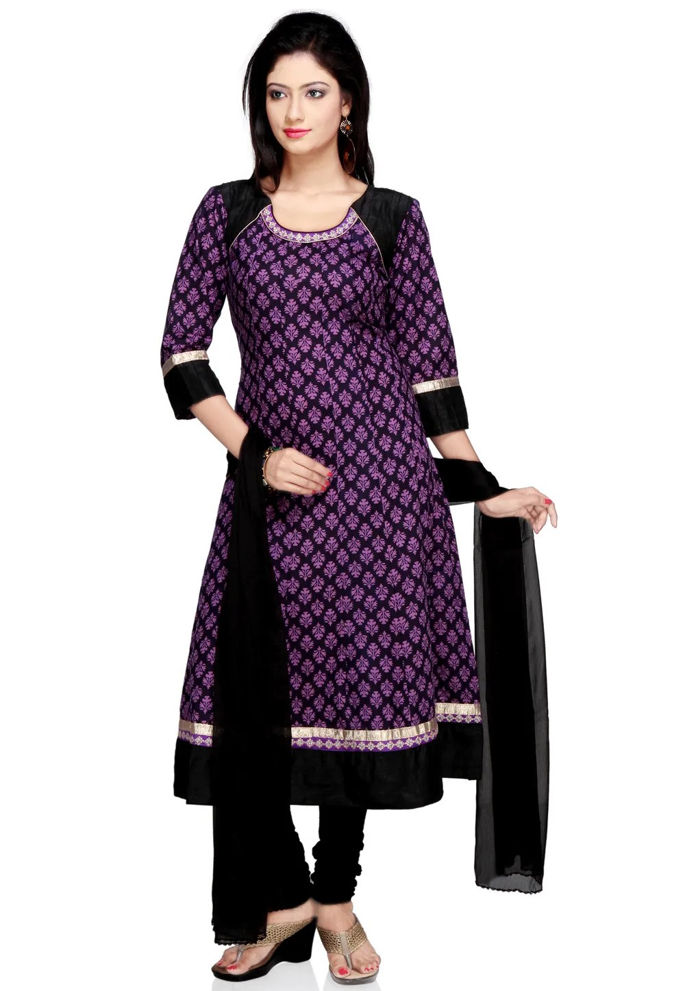Printed Anarkali Suit in Black and Purple  KJN1018