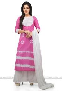 Tie Dye Cotton Pakistani Suit in Pink : KJN2722