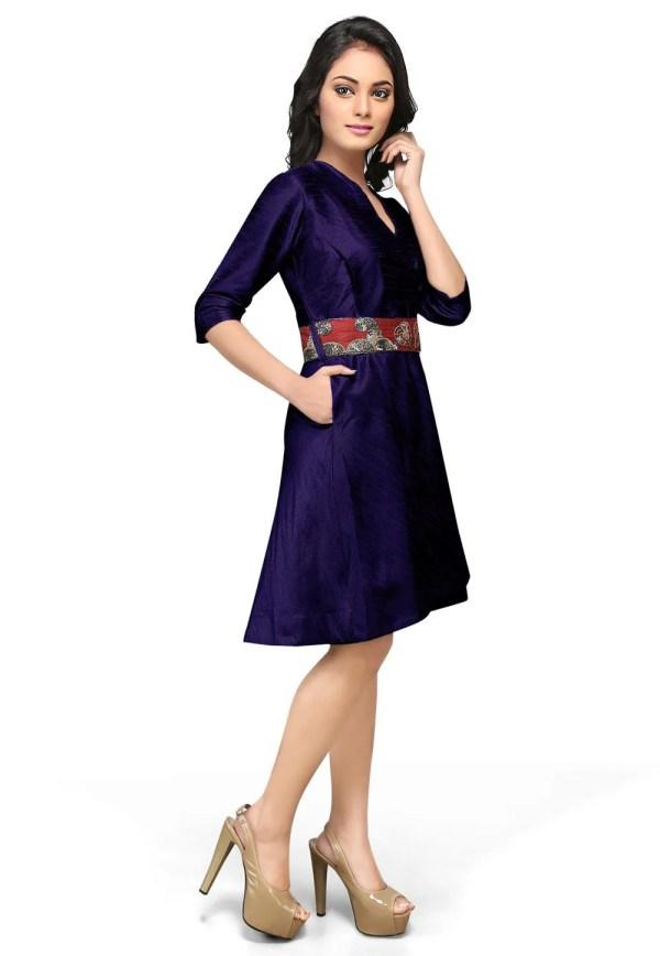 Embroidered Raw Silk Dress In Dark Blue Thu706