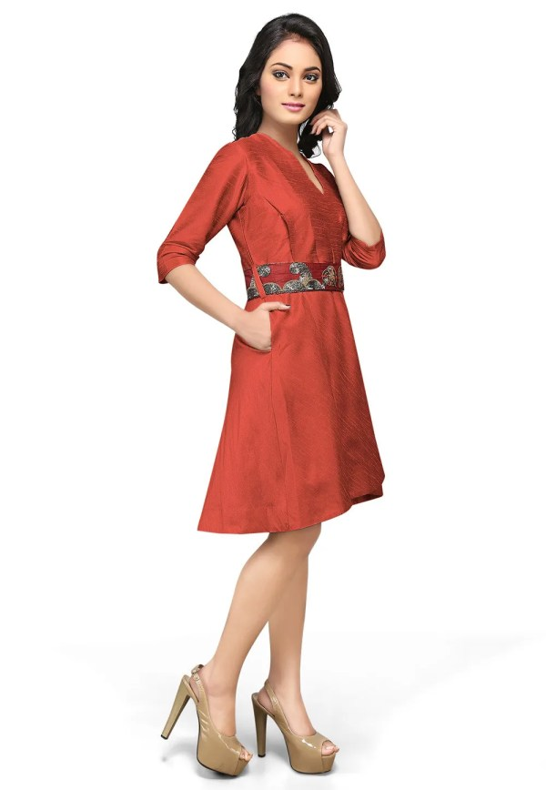 Embroidered Raw Silk Dress In Coral Red Thu707