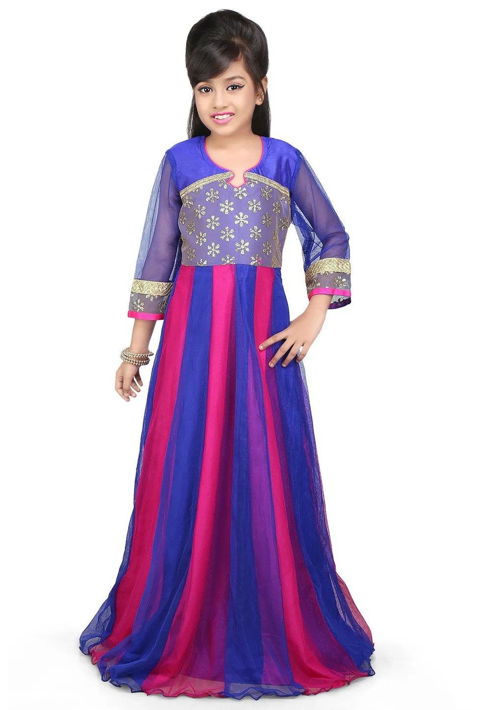 Embroidered Net Gown in Fuchsia and Blue  UNJ497