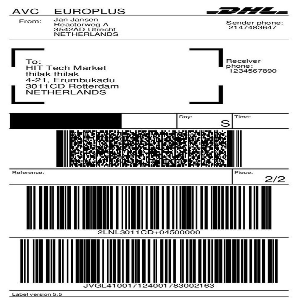 medium resolution of module preparation shipping dhl parcel shipping with print label 1