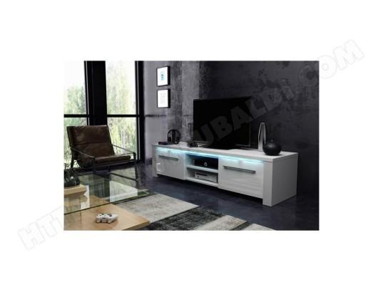 price factory meuble tv design manhattan 140 cm a 2 portes 2 niches coloris blanc mat et blanc brillant led 822