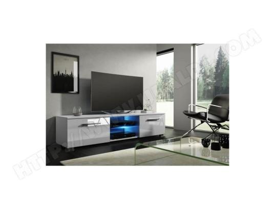 price factory meuble tv design leon 140 cm a 2 tiroirs 2 niches coloris blanc mat et blanc brillant led 827