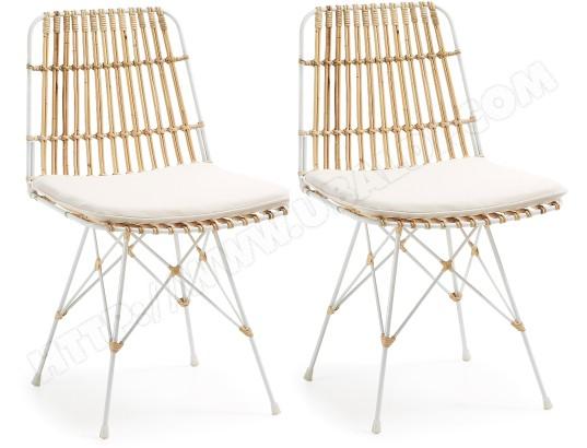 lf chaise lot de 2 chaises isnaia metal et rotin