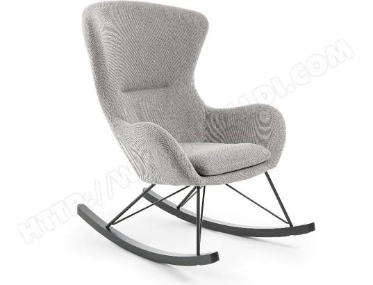 lf fauteuil chaise a bascule valsa tissu gris
