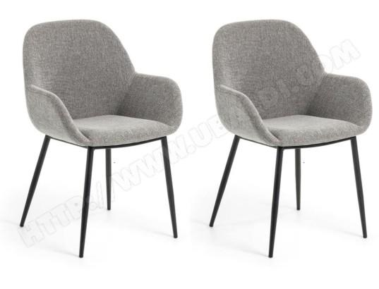 lf chaise lot de 2 chaises konna en tissu gris