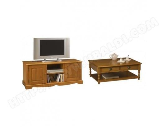 beaux meubles pas chers ensemble table basse et meuble tv pin miel 38302