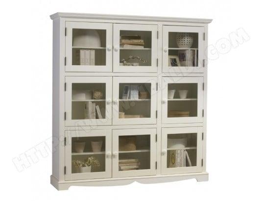 beaux meubles pas chers bibliotheque blanche 9 portes vitrees de style anglais 40509