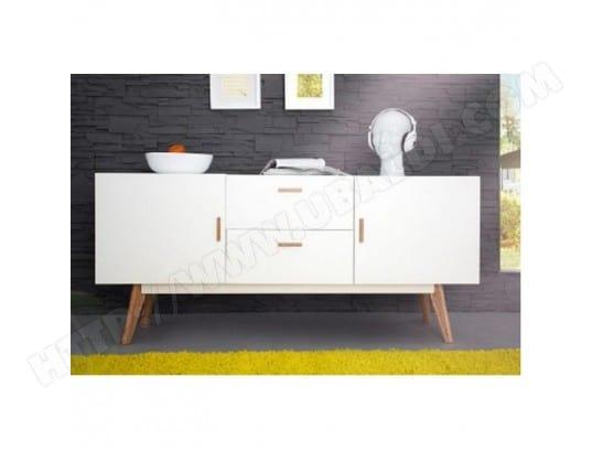 beaux meubles pas chers buffet blanc 2 portes 2 tiroirs 4 pieds chene vintage 9308