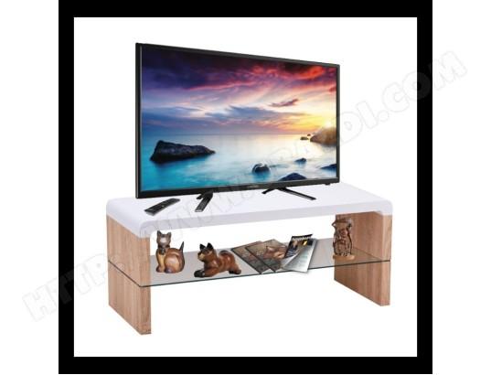 price factory meuble tv faro 100 cm avec une etagere en verre coloris blanc chene ma 76ca487meub 7jb46