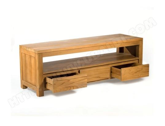 wood en stock meuble tv en teck massif 145 cm x 45 x 50 cm 587