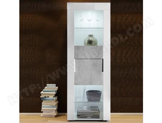 kasalinea vitrine blanc laque brillant et effet beton brooklyn ma 91ca494vitr 6raci