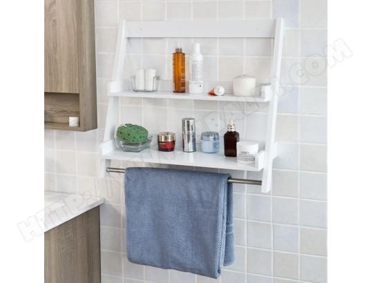 sobuy frg117 w etagere murale porte serviettes salle de bain avec 2 tablettes et 1 barre frg117 w