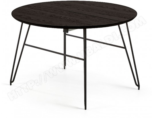 lf table de salle a manger norfort ronde diametre 120 extensible 120 200 noir