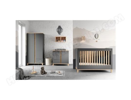 meubles vox chambre complete lit bebe 60x120 commode a langer armoire 2 portes altitude gris 2690