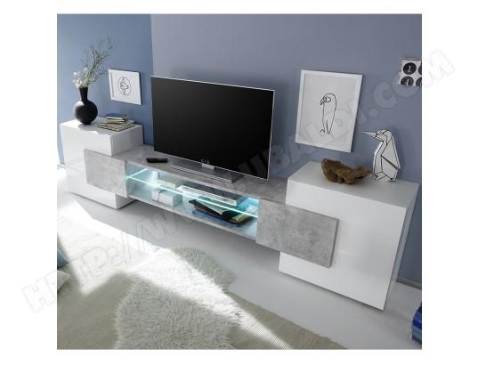 sofamobili meuble tv design blanc laque brillant et effet beton argos avec eclairage m tv d 343 1