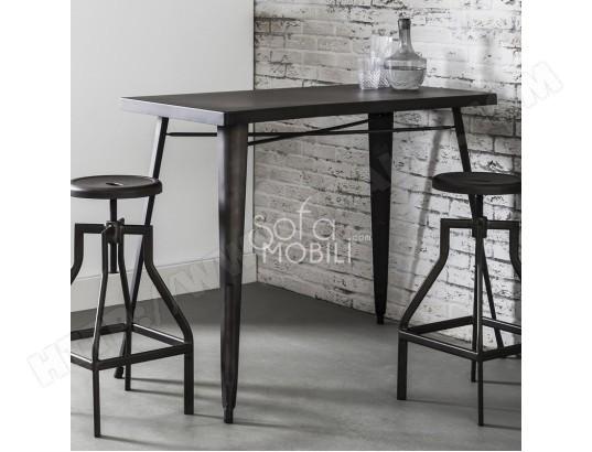 sofamobili table haute industrielle en acier conrad tab b 002