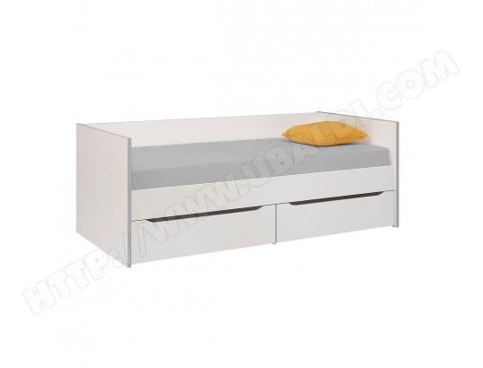 gami lit banquette 2 tiroirs 90x200 babel blanc gris 2065